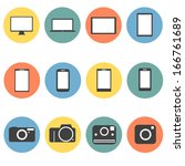 new technology multimedia icons ... | Shutterstock .eps vector #166761689