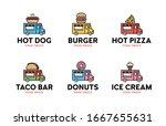vector street food truck logo... | Shutterstock .eps vector #1667655631