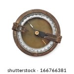 Old Rusty Compass On White