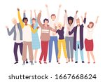 group of people standing with... | Shutterstock .eps vector #1667668624