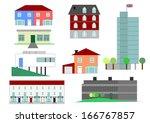 set of house illustrations in... | Shutterstock . vector #166767857
