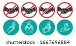 set of no handshake and washing ...   Shutterstock .eps vector #1667696884
