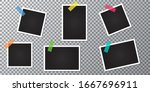 set of photo frames on a... | Shutterstock .eps vector #1667696911