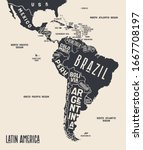 map latin america. poster map... | Shutterstock .eps vector #1667708197