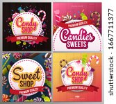 candy shop banner with sweets... | Shutterstock .eps vector #1667711377
