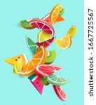 bright slices of fruit.... | Shutterstock .eps vector #1667725567