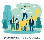 group leader with spyglass... | Shutterstock .eps vector #1667739667