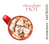 Hot chocolate with marshmallow in a red mug close-up. - stock photo