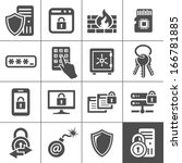 Information technology security icons. Simplus series. IT security vector icons