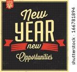 vintage new years typographic... | Shutterstock .eps vector #166781894