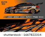 car wrap graphic livery design... | Shutterstock .eps vector #1667822314