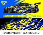 car wrap graphic livery design... | Shutterstock .eps vector #1667822317