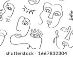 abstract faces seamless pattern ... | Shutterstock .eps vector #1667832304