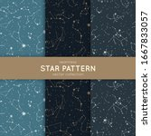 set of seamless star pattern.... | Shutterstock .eps vector #1667833057