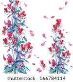 watercolor flowers in a...   Shutterstock . vector #166784114