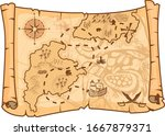 illustration of a pirate map... | Shutterstock .eps vector #1667879371