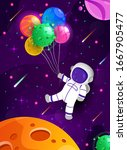 cute astronaut cartoon floating ...