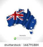 australia map with waving flag... | Shutterstock .eps vector #166791884