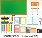 school and learning equipment... | Shutterstock .eps vector #1667969521