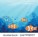 ocean underwater theme... | Shutterstock .eps vector #1667998957