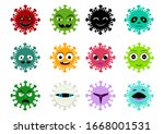 set of cancer and virus icon in ...   Shutterstock .eps vector #1668001531