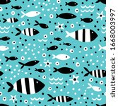 striped fish on a blue... | Shutterstock .eps vector #1668003997