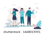 virus prevention concept. group ... | Shutterstock .eps vector #1668015451