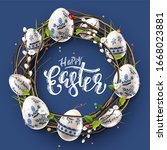 modern easter folk wreath.... | Shutterstock .eps vector #1668023881