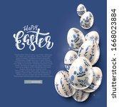 modern easter folk background.... | Shutterstock .eps vector #1668023884