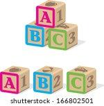 abc baby blocks | Shutterstock .eps vector #166802501