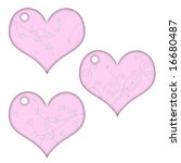 pink heart tags with flowers | Shutterstock . vector #16680487