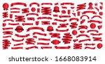set of 100 ribbons. ribbon... | Shutterstock .eps vector #1668083914