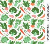 vegetables pattern  doodle... | Shutterstock .eps vector #1668110824