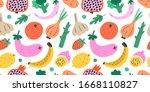 fruit and vegetables  seamless... | Shutterstock .eps vector #1668110827