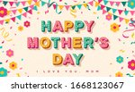 happy mother's day card or... | Shutterstock .eps vector #1668123067