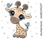 cute cartoon giraffe with two... | Shutterstock .eps vector #1668154237