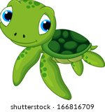 baby sea turtle cartoon | Shutterstock .eps vector #166816709