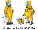 men and pet in bio hazard suits ... | Shutterstock .eps vector #1668188974