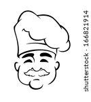 happy european chef in toque... | Shutterstock .eps vector #166821914