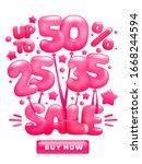flying glossy pink balloons...   Shutterstock .eps vector #1668244594