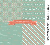 set of cute seamless pattern... | Shutterstock .eps vector #166826039