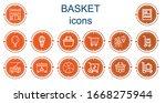 editable 14 basket icons for... | Shutterstock .eps vector #1668275944