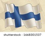vintage flag of finland in...   Shutterstock . vector #1668301537