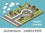 sunny suburb isometric... | Shutterstock .eps vector #1668313504
