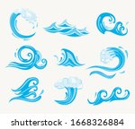 set of sea waves. ocean tidal... | Shutterstock .eps vector #1668326884