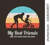 woman teaching boy to ride bike....   Shutterstock .eps vector #1668333847