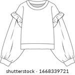 frilled sweatshirt  fashion...   Shutterstock .eps vector #1668339721