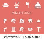 miner icon set. 14 filled miner ... | Shutterstock .eps vector #1668356884