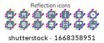 reflection icon set. 14 filled...   Shutterstock .eps vector #1668358951