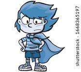 brave boy in a super hero... | Shutterstock .eps vector #1668365197